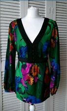 MONSOON Floral top blouse Tunic Embroidered Beaded Neckline Hippy Boho Size 16