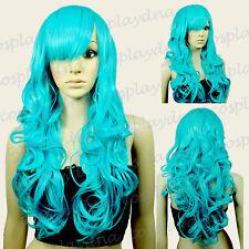 28 inch Hi_Temp Series Miku Green Curly Long Cosplay DNA Wigs 70MGG