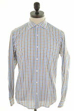 Hugo Boss Mens Shirt Size 38 15 Medium Multi Check Cotton