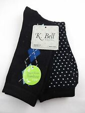 Bamboo blend socks black argyle dotted two pairs crew k bell