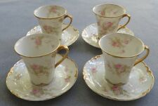 4 Chocolate Cup & Saucer Sets Haviland Schleiger 456E Dbl Roses W Gold Trim