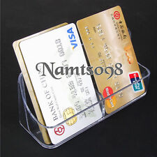 Vertical Business Credit Card Holder Stand Storage 2 pocket Box Desk Top/Acrylic