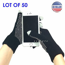 Wholesale Lot of 50 Touch Screen Gloves Smartphone Tablet Pad US Stock (BLACK)