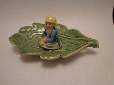 Wade Ireland Shamrock Pottery Irish pixie elf on leaf ceramic dish Vintage 1950'