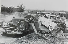 "12 By 18"" Black & White Picture 1949 Oldsmobile and Buick car wreck Early 1950's"