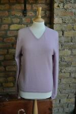Vintage 100% Cashmere Size UK12 made in Scotland lilac dusky pink V neck jumper