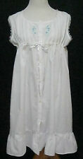 Moon Dance White Nightgown Nightie Lg. Lace, Blue Embroidered Flowers, Classic
