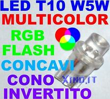 5 Lampadine LED RGB MULTICOLOR TRICOLOR T10 W5W FLASH VELOCI FAST CONO INVERTITO