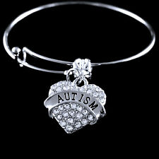 Autism bracelet Autism awareness Crystal Heart Jewelry  awareness bracelet
