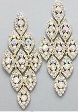 "3.5"" Long AB Clear Dangle Austrian Crystal Gold Pageant Bridal Earrings Formal"