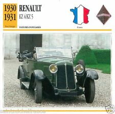RENAULT KZ 4/KZ 5 1930 1931 CAR VOITURE FRANCE CARTE CARD FICHE