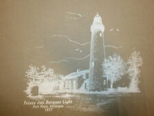 POINTE AUX BARQUES LIGHT LIGHTHOUSE T SHIRT Port Hope Michigan 1857 Lake Huron M