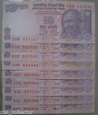 10 Rs. INDIA Notes Solid Fancy Number Set 111111 to 999999, Sign Subbarao, RARE