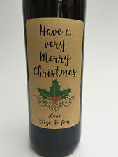 4 x Christmas Wine Bottle Labels PERSONALISE Kraft White Sticker XMAS Gift SCRIP