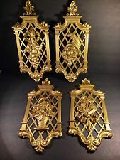 Hollywood Regency Vintage Wall Hanging Plaques Gold Flowers 1971 Four Dart Ind
