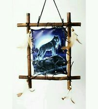 Wolf under the moon square Dream Catcher