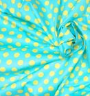 "Turquoise Yellow Polka Dot Polished Cotton Fabric 44""W BTY DRESS DRAPE CRAFT"