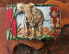 Vtg African Elephant Belt Buckle by Great American Buckle Co. USA NEW 1988