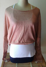 Womens Knit Top Free Size New  S M L Long Sleeve Loose Wool Acrylic Pink