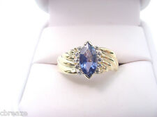 FINE BLUE NATURAL SAPPHIRE 1.24 CTS MARQUISE and  DIAMONDS 14K GOLD RING