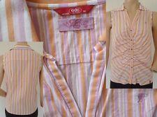 EDC by Esprit Bluse Girl ohne Arm Druckknopfleiste orange gestreift Gr M 1A