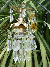 1 Spelter hanging lily petite lamp Chandelier Crystal prisms Brass Tole pendant