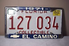 2002 Florida Collectible License Plate w/ 1971 El Camino Plate Frame