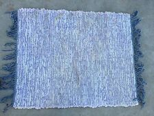 VINTAGE BLUE, WHITE AND PINK RAG. RUG WITH FRINGE