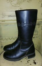 LL BEAN LEATHER BROWN LADIES RIDING BOOTS 6.5  WOVEN BEAUTIFUL