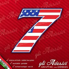 Adesivo Stickers NUMERO 7 moto auto cross gara USA Star & Stripes 15 cm