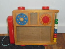 Vintage Wood Wagon Phone Clock Abacus Toy Educational Game Preschool Childrens