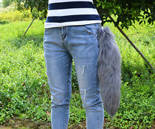"20"" Charm Long Luxury Real Dark Grey Fox Tail Fur Keychain Leather Tassel Gift"