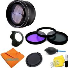 ZOOM LENS +HD FILTER KIT + HOOD FOR CANON EOS T4i T3i T3 TSL1 80D 40D 1300