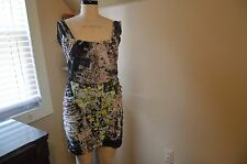 JUST CAVALLI BY ROBERTO CAVALLI RUCHED MULTI-CCOLOR PRINT DRESS, IT 48, US12