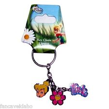 Tinkerbell Metal Keychain with Tink Script, Pink Flower & Cute Pixie Face