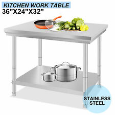"""24"""" x 36"""" Commercial Stainless Steel Kitchen Work Bench Food Prep Table Top NSF"""
