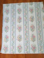 Vintage Montgomery Wards Full/Double Flat Sheet Faux Cross Stitch Floral