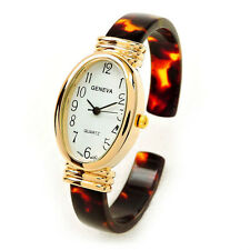 Geneva Tortoise Gold Acrylic Band Small Size Oval Face Women's Bangle Cuff Watch
