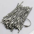 100pcs Stainless Steel Wire Keychain Cable Screw Clasp Key Ring 10cm/4''(L) 2mm