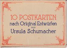 uralte AK, 10 Postkarten nach Original Entwürfen von Ursula Schumacher, 8 Stück