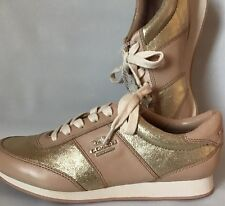 New Women's COACH Moonlight Shoes Sneakers AO1377 Premium Leather Ivory Gold 6.5