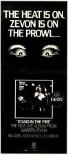 17/1/81PGN20 ADVERT: STAND IN THE FIRE LIVE ALBUM FROM WARREN ZEVON 15X5