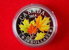 2014 Canada $20 Majestic Maple Leaves 1oz Fine Silver Proof Coin