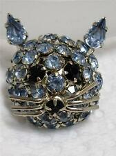 Vintage JAMES WARNER Blue Rhinestone Kitty CAT Pin Brooch