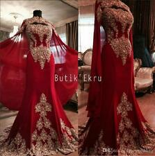 Burgundy and Gold applique Evening Dress Chiffon Celebrity Prom Gown custom