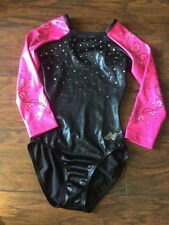 alpha factor asm black pink rhinestones competition leotard adult small