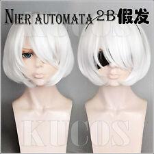 New Anime NieR:Automata 2b Short White Cosplay Wig Bobo Wig Free Shipping