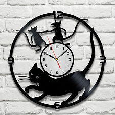 Cat and mouses design vinyl record clock home decor art gift office playroom vet