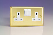 Varilight 2-Gang 13A Double Pole Switched Plug Socket Victorian Brass XV5W