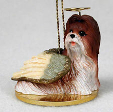 Shih Tzu Dog Figurine Angel Statue Hand Painted Tan